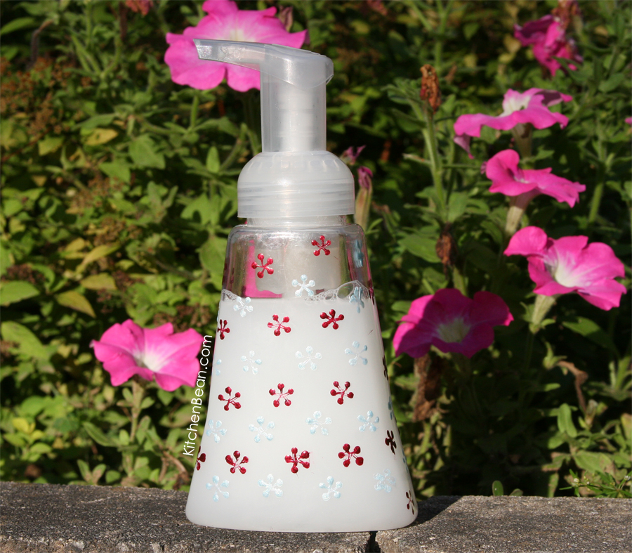 Hand decorated soap dispenser